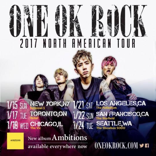 【ONE OK ROCK】6都市を回る北米ツアーを発表!『NORTH AMERICAN TOUR』